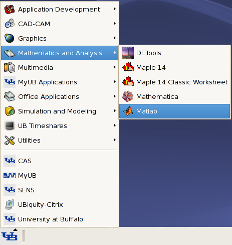 Linux MATLAB Menu Selection
